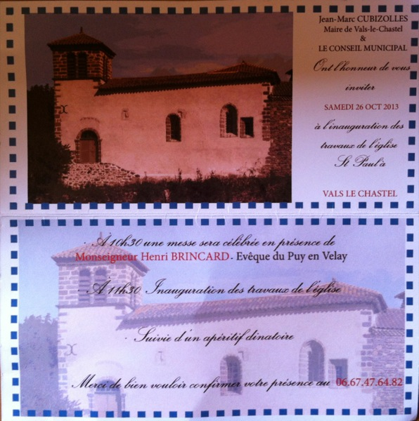 invite for the church inaugeration